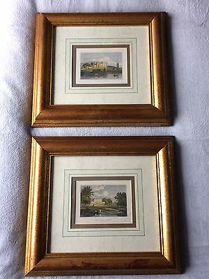 PAIR OF ANTIQUE 19th CENTURY COLOURED COPPER PLATE ENGRAVINGS STAFFORDSHIRE