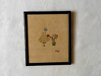 Antique Petite Point Needlepoint Sampler Sun Bonnet Girl Wall Hanging /Initialed