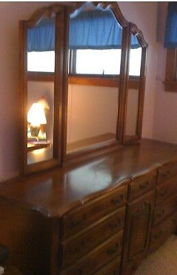 Ethan Allen French Provential Triple Dresser With Mirror Preowned