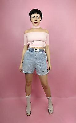 VTG 90s Blue Boxer Style Acid Wash Denim, Jean Short S, M Retro, Grunge, Hipster