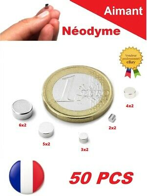 50 Aimants Neodyme ép. 2mm N35 Puissant : Photo, Magnet, Fimo, Scrapbooking...