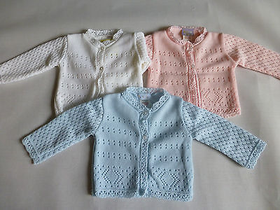 KNITTED BABY CARDIGANS WHITE/PINK/BLUE Early Baby/Premature from 3-5lbs