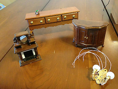 Lot Dollhouse miniatures buffet tables wall sconce fireplace cake roll