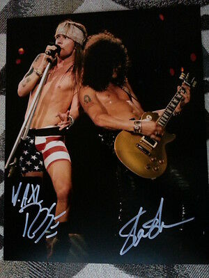Guns N Roses Axl Rose Slash Hand Signed Autograph 8 x 10 Photo with COA