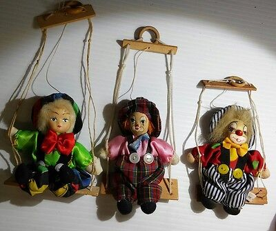 3 Vintage Small Clowns on Swings