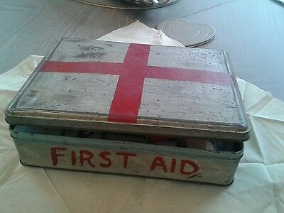 Vintage first aid tin with contents old biscuit tin 50s.