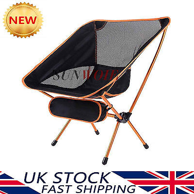 Portable Folding Seat Camping Lounger Orange Chair Durable Outdoor Lightweight