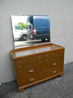 Mid-Century Oriental Painted Dresser With Mirror by Harmony House 2386