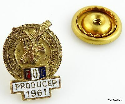 FOE 1961 Producer Screwback Pin Fraternal Order of Eagles