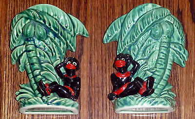 Rare Matching Set Vintage Ceramic Black Americana Native Vases Wall Sconces