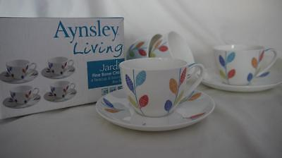 4 x CONTEMPORARY AYNSLEY LIVING JARDIN TEA CUPS & SAUCERS UNUSED BOXED