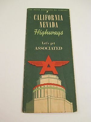 Vintage FLYING A ASSOCIATED AVIATION ETHYL VEEDOL CA NV Gas Road Map~1940 Census