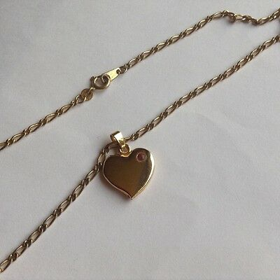 Vintage 18kt gold plated necklace with gold tone heart pendant