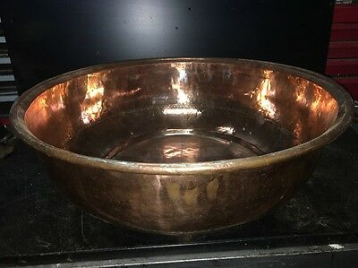 "Large Antique Copper Sink Bowl 28"" Diameter X 8"" Deep"