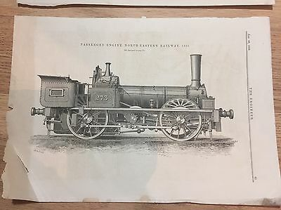 10 x Train Prints / Pages from The Engineer Magazine 1880's: Locomotive
