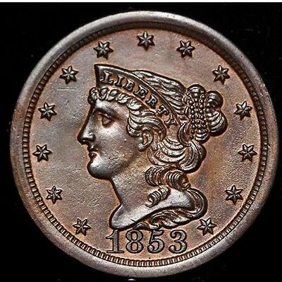 1853 Half Cent, Braided Hair, Gem, Copper, Uncirculated, Free Shipping!
