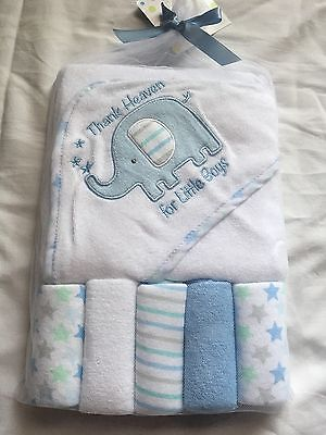 Baby Gear Hooded Towel & Washcloth Gift Set Boys Shower Elephant Thank Heaven