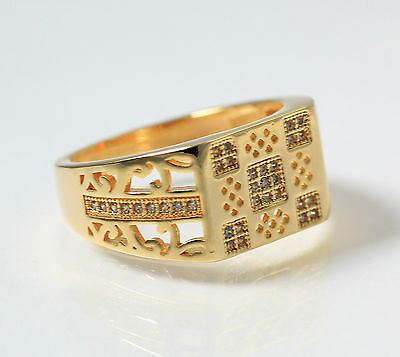 18K Yellow Gold Finish Real 925 Silver Square Lab  Diamond ring size 10