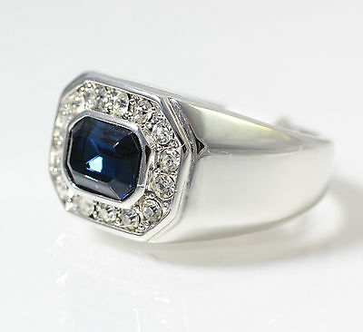 White Gold Finish Real 925 Silver Square Lab Blue Diamond ring size 9