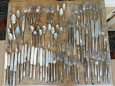 Assorted Lot of 87 Vtg Silverware Forks Spoons Knives Craft Or Repurpose