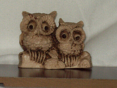 Snow Owls On Tree Limb Figurine