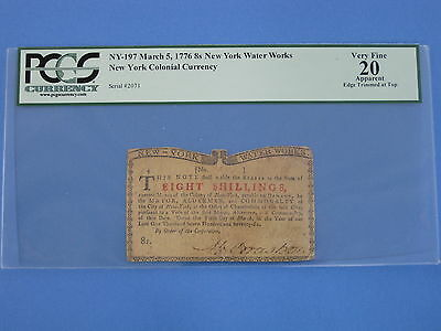1776 New York Water Works 8 Shillings PCGS VF20