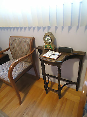 Antique Half Moon Hard Wood Foyer End Table Console Accent