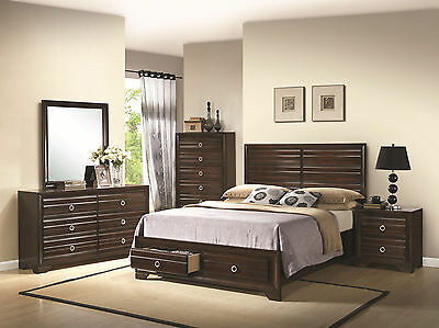 CONOLLY - 5pcs Contemporary Brown Queen Panel Storage Bedroom Set New Furniture