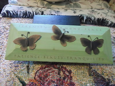 12 x 7 inch Wood & Metal Butterfly Plaque Keyholder serenity harmony patience