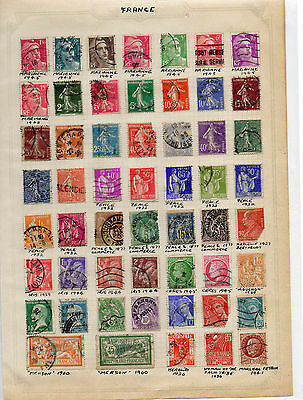 Old page with Stamps from France, nice lot.