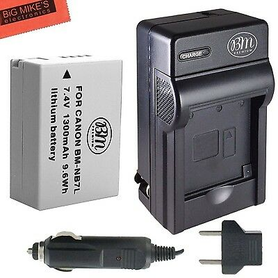 BM Premium NB-7L Battery & Charger Kit Canon PowerShot G10 G11 G12 SX30 IS Di...