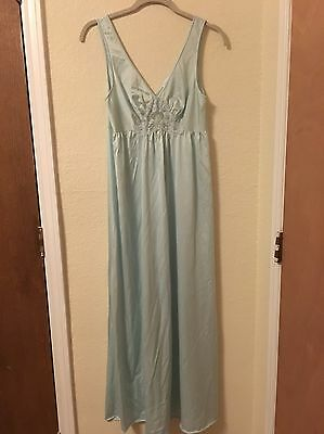 Vintage Women's Lorraine Blue Lace Sleeveless Long Nightgown Size Small