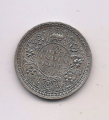 1943 British India Silver 1/4 Rupee--Fabulous Details  !!