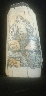 """Scrimshaw Replica Whale Tooth by Doyle & Yancey - Mermaid - 3.75"""" FREE SHIP!"""