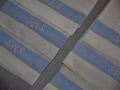 6*Antique*Irish Linen*TeaTowels*Luncheon Towels*Monogramed*White with Blue linen