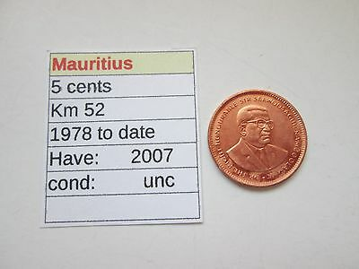 Single coin from MAURITIUS,   200,7   5 CENTS,   Uncirculated