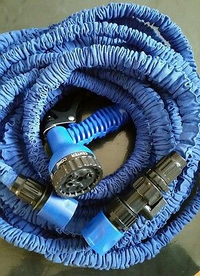 75ft/22.5m expanding blue flexible garden hose pipe with on/off valve & spray