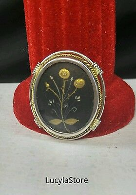 Vintage Mourning Oval Locket Coin Silver 800 Pin Brooch w/ Flowers Gold Accent