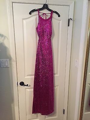 Long sequined Formal Dress, Size 6. Pink.