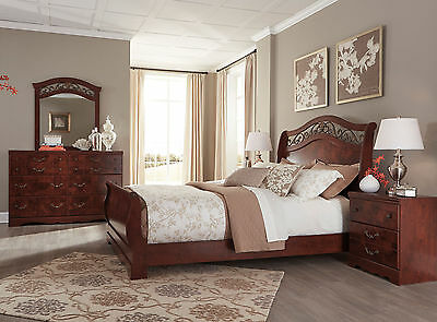 CHATEAU-5pcs Traditional Reddish Brown Sleigh Metal Queen Bedroom Set Furniture