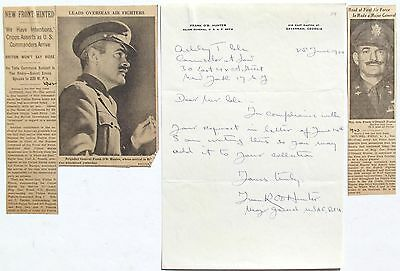 Frank O. Hunter World War I Ace 103rd Aero Squadron 9 Victories Signed Letter