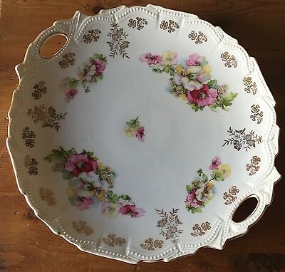 Gorgeous Vintage Antique Hand Painted Beaded Gold Trim Handled Plate Tray Nice!