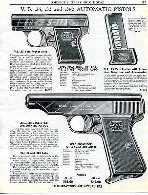 1956 Print Ad of VB V Bernardelli .25 Vest Pocket & .380 Pistol