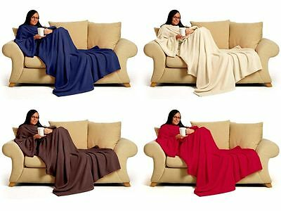 Snug Fleece Delux Coral Warm Sleeved  Snuggle Blanket,Snuggie With Pockets