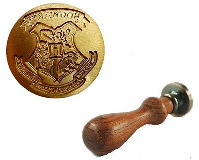 Harry Potter Hogwarts Brass Wax Seal Stamp Wooden Handle