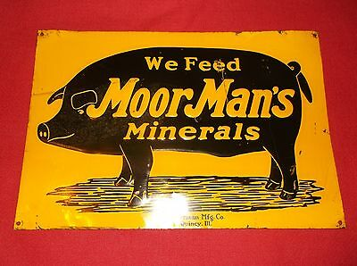 "Antique orginal MoorMan's Minerals tin sign 14"" x  9 1/2"""