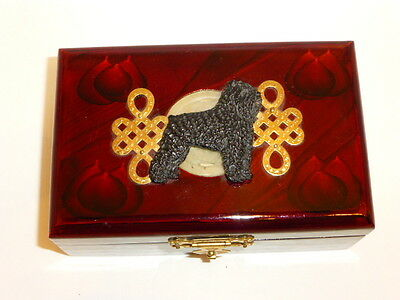 """Bouvier Handcrafted Handpainted 3-D Image On 5 1/2""""L. Lacquered Wooden Box, New"""