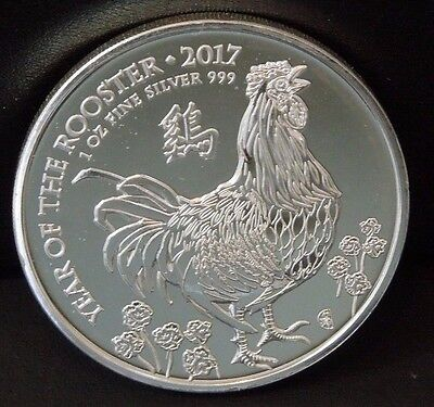 Great Britain 2017 Chinese Lunar Year Of The Rooster Silver Coin 1 OZ In Capsule