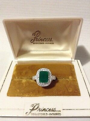 Natural 2.24ct Princess Colombian Emerald Ring, White Gold & Sterling 925 Size 7