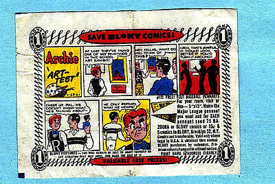 Vintage 1/57 Bazooka/ Blony Bubble Gum Wrapper Comic Series Archie Art-Test
